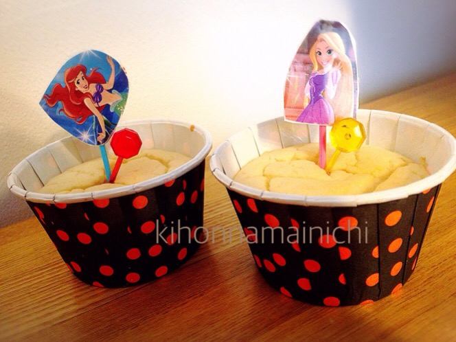 ディズニープリンセスピックで誕生日ケーキ試作中!