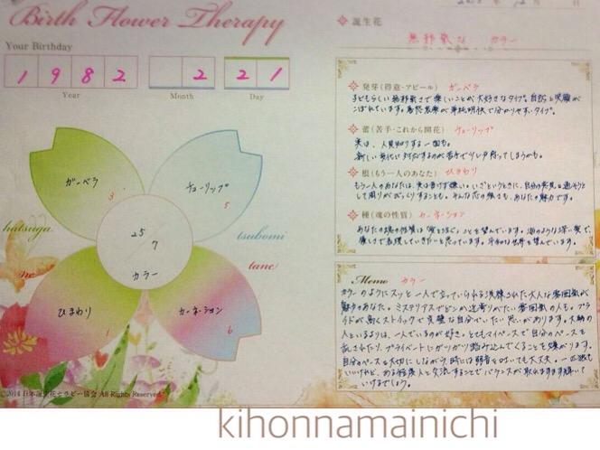 誕生日から個を知るツール「誕生花セラピー」限定モニターを受けたよ!