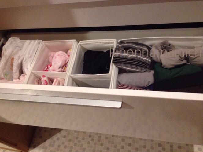 洗面所の引き出しは家族全ての下着を収納 IKEAのSKUBBを仕切りに