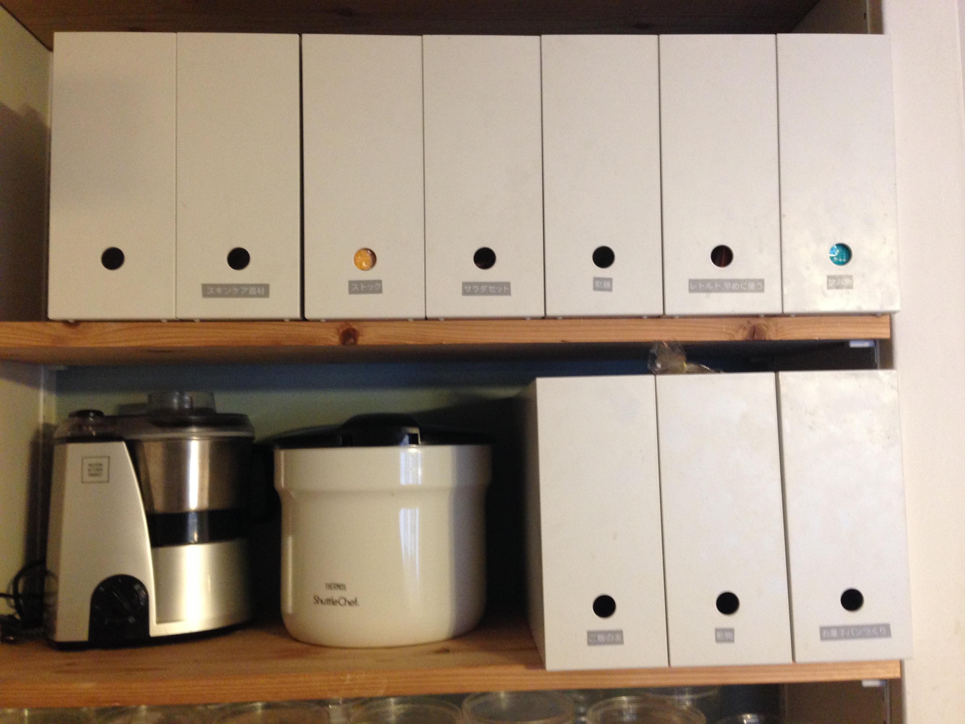 冷蔵庫に入れない食品の収納方法は無印のA4ファイルBOXを使ってカテゴリわけ!中身はざっくり収納で片付け美人♪