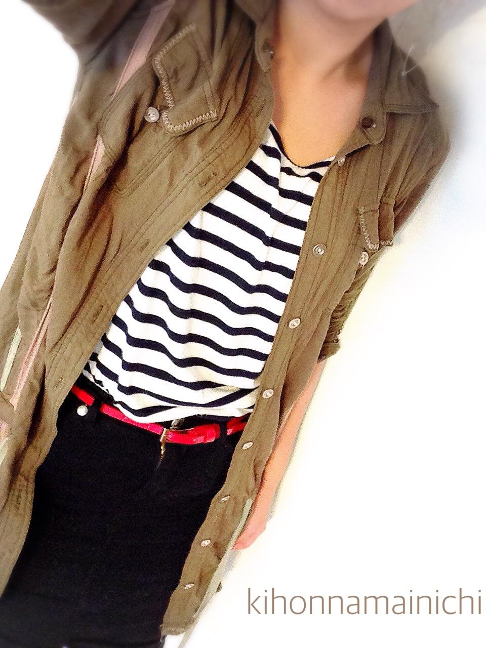 【GU スカートコーデ】ボーダーTシャツがワンランク大人っぽくなる色合わせ