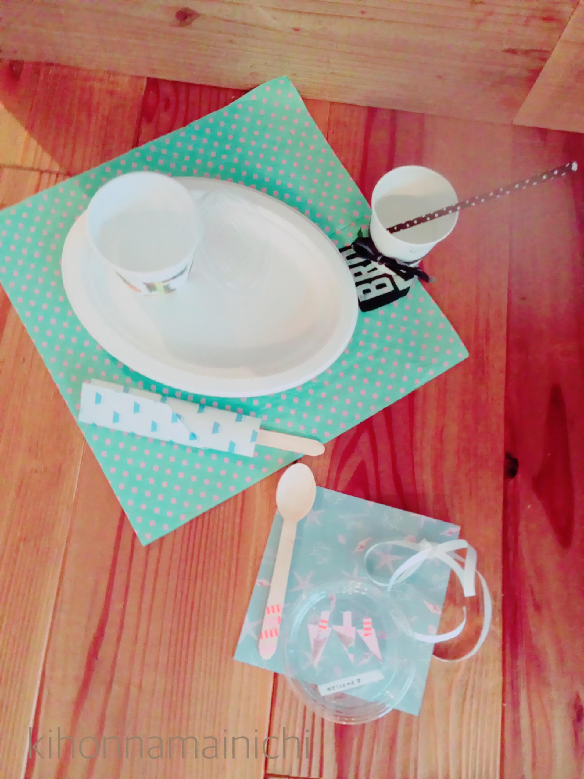 【100均 テーブルコーデ】夏の来客にペーパーを上手く使って季節感をカフェ風に演出!