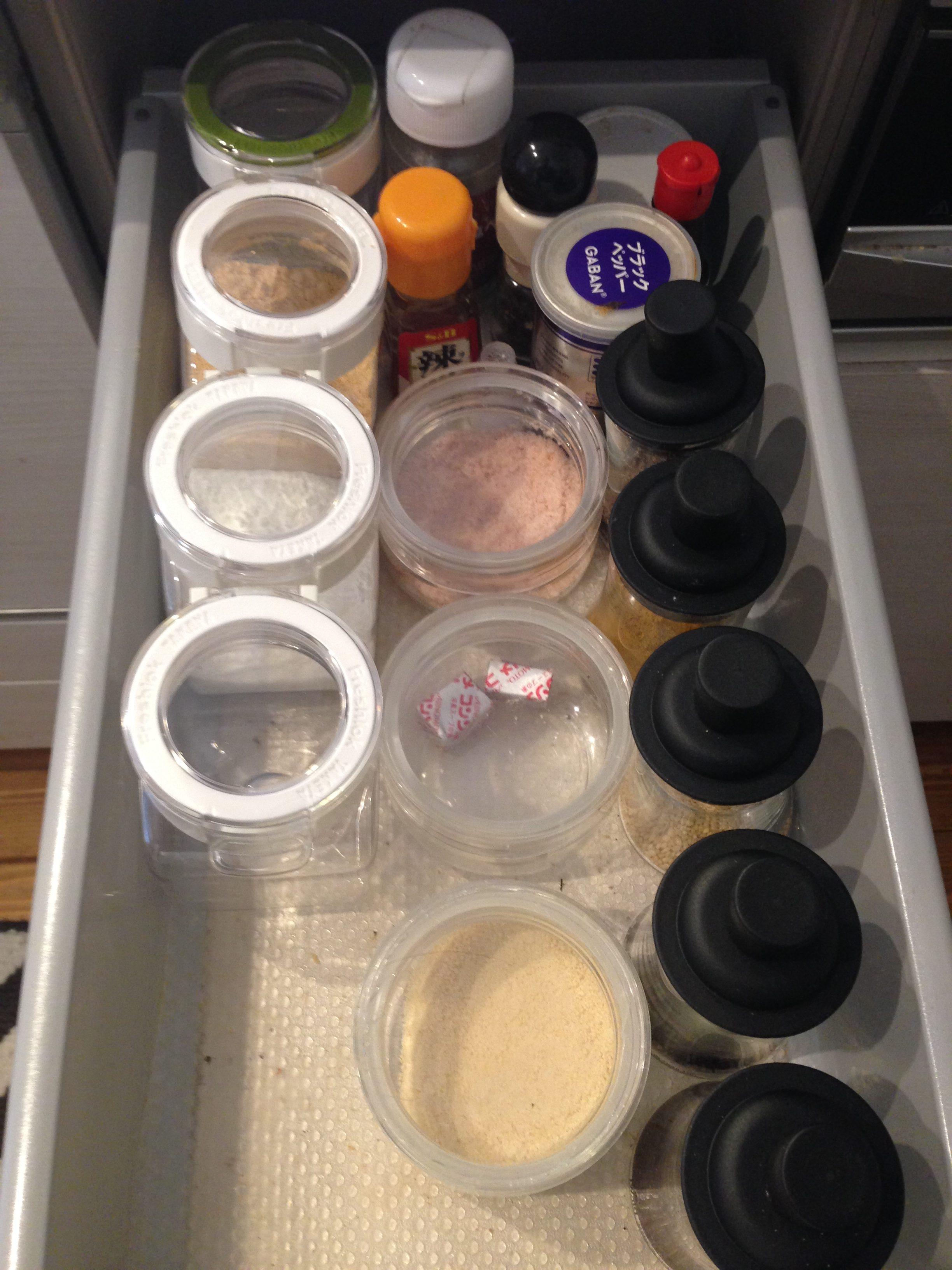 【キッチン調味料収納】フレッシュロック300とIwaki ふりかけボトルを使った調味料収納