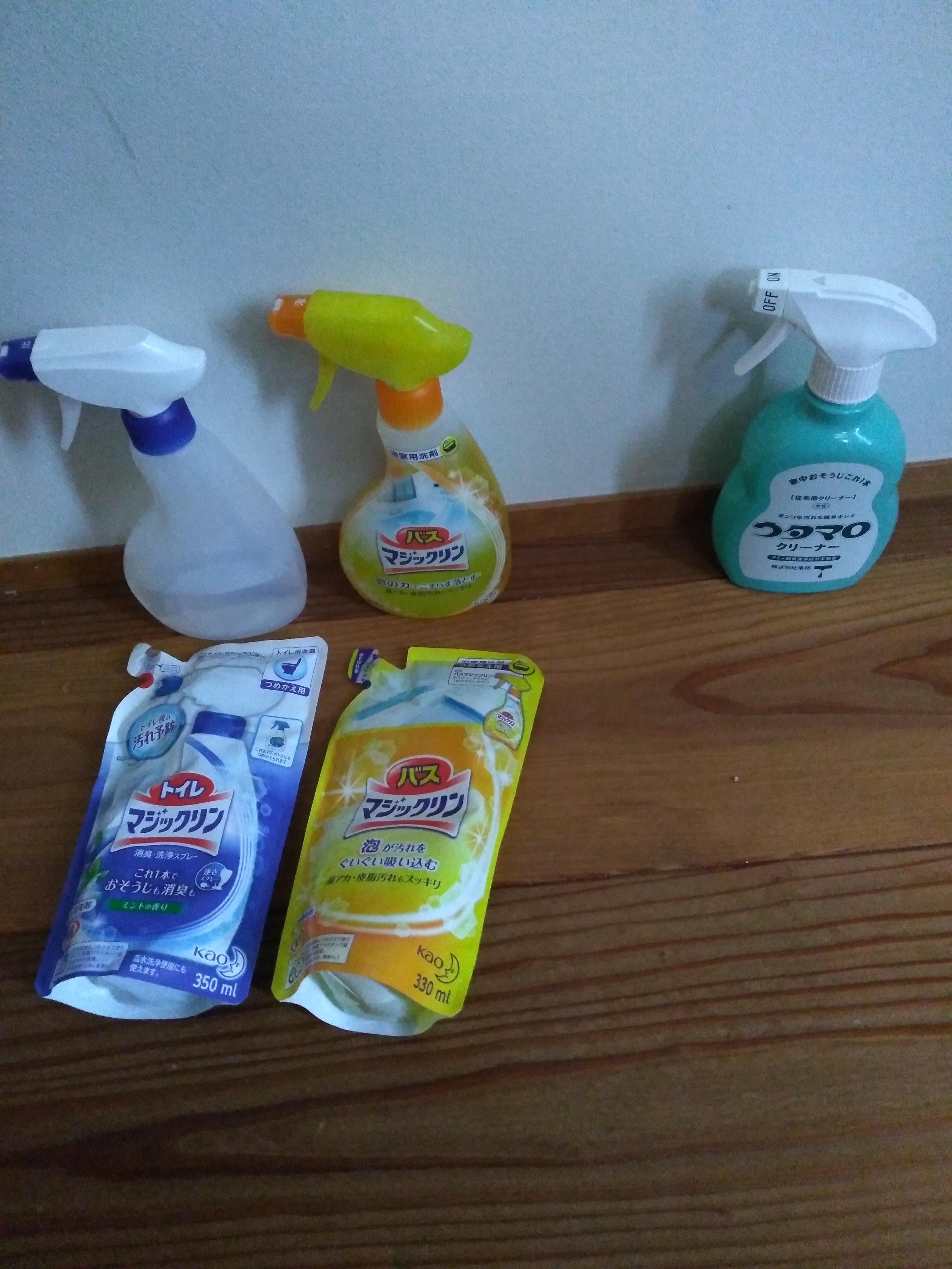 洗剤シンプル化計画。リベンジ。トイレ洗剤とかお風呂洗剤とか・・とかとか一本化作戦。